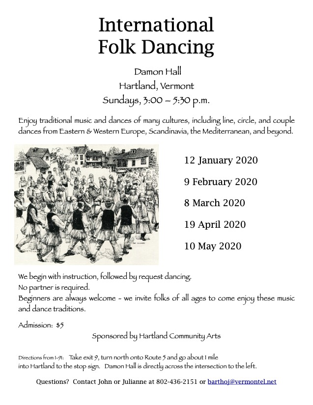 International Folk Dancing, Damon Hall, Hartland. Sundays 3 -5:30